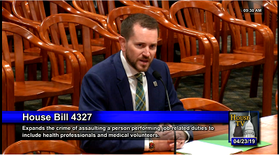 Adam Carlson, director, government & political affairs, testifies in support of legislation that would increase penalties for assaulting healthcare workers.