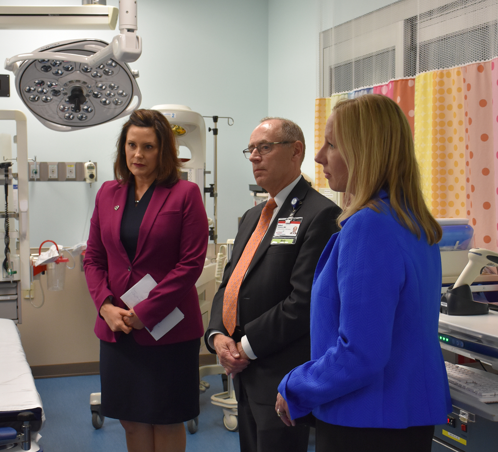 Gov. Gretchen Whitmer is joined by Dr. Robert Connors, president, Spectrum Health Helen DeVos Children's Hospital, and Tina Freese Decker, president & CEO, Spectrum Health, during a discussion about the impact of the latest no-fault legislation on hospital trauma centers while visiting Spectrum Health Helen DeVos Children's Hospital, Grand Rapids.